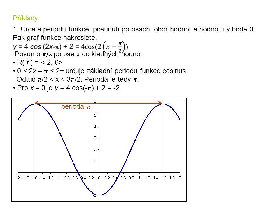 Příklady. 1. Určete periodu funkce, posunutí po osách, obor hodnot a hodnotu v bodě 0. Pak graf funkce nakreslete.