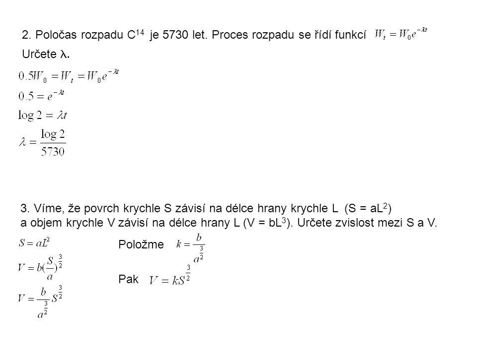 2. Poločas rozpadu C14 je 5730 let. Proces rozpadu se řídí funkcí