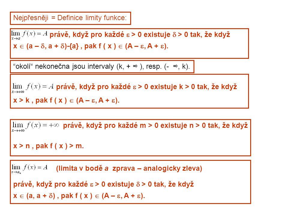 Nejpřesněji = Definice limity funkce: