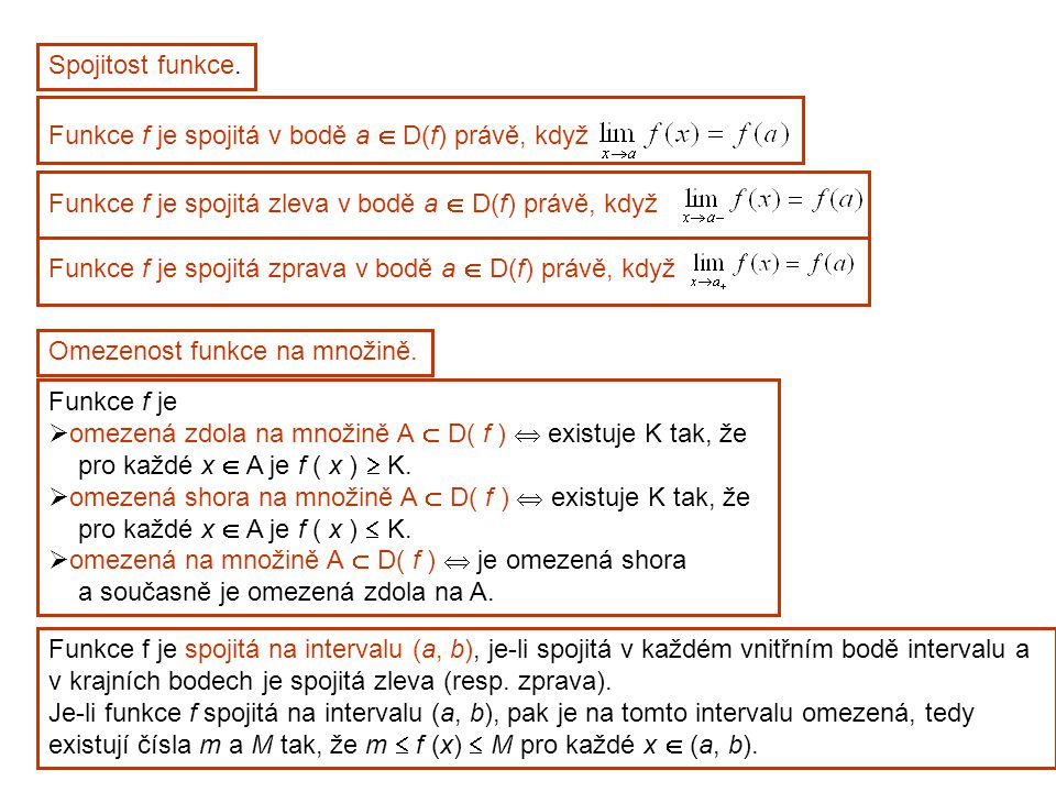 Spojitost funkce. Funkce f je spojitá v bodě a  D(f) právě, když. Funkce f je spojitá zleva v bodě a  D(f) právě, když.