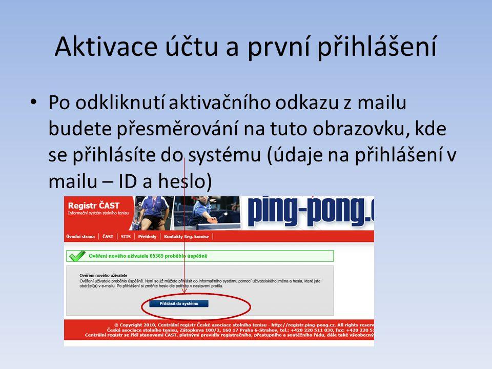 Aktivace účtu a první přihlášení