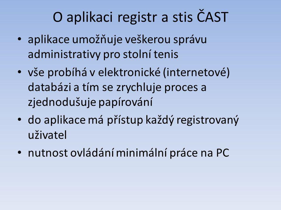 O aplikaci registr a stis ČAST