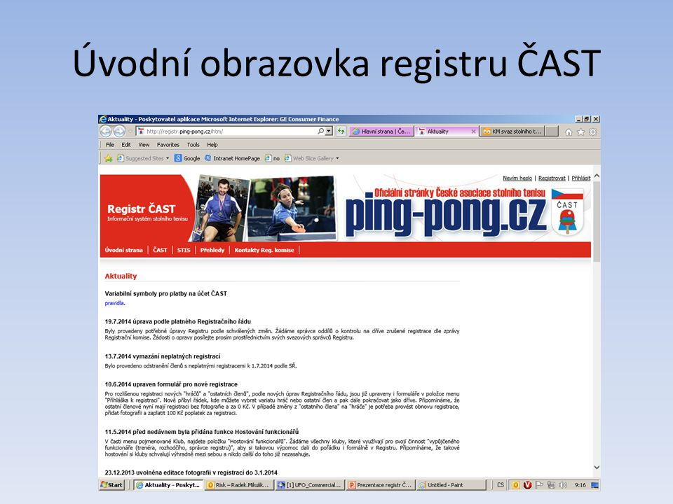 Úvodní obrazovka registru ČAST
