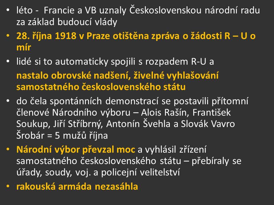 léto - Francie a VB uznaly Československou národní radu za základ budoucí vlády