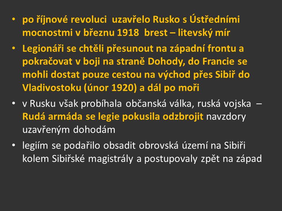 po říjnové revoluci uzavřelo Rusko s Ústředními mocnostmi v březnu 1918 brest – litevský mír
