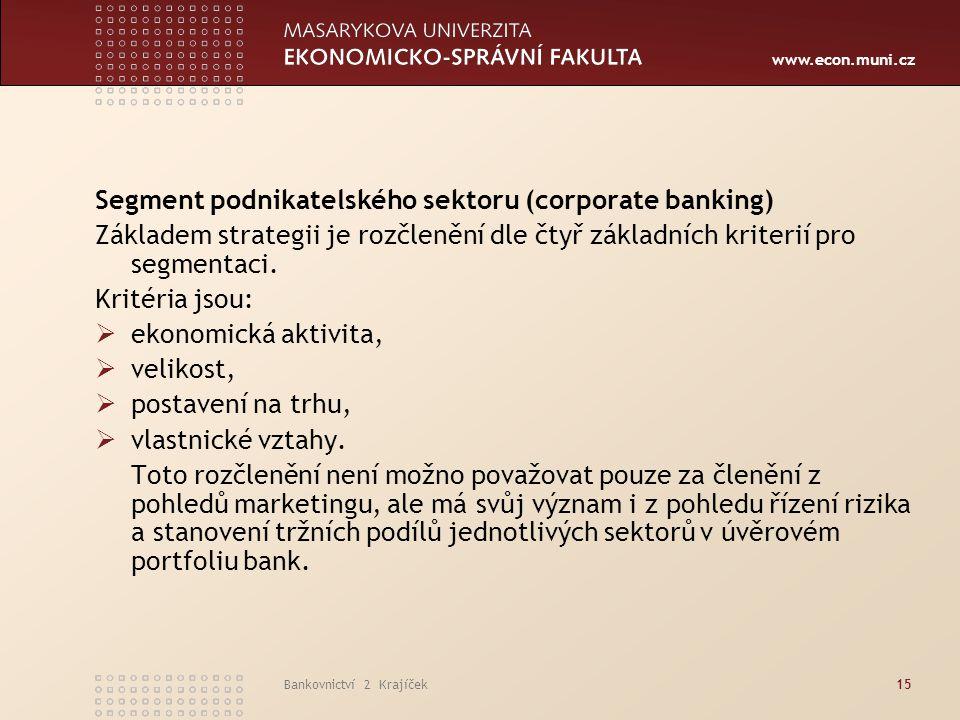 Segment podnikatelského sektoru (corporate banking)