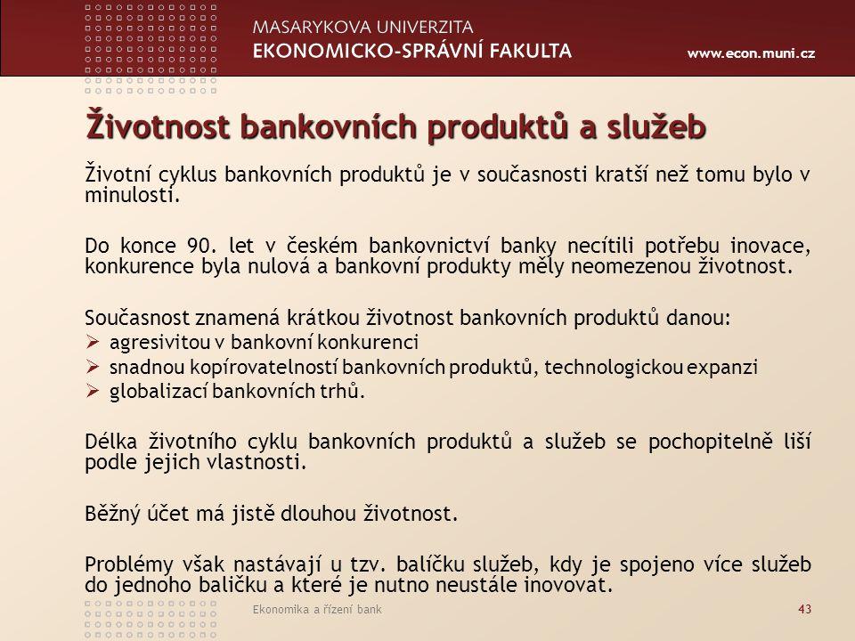 Životnost bankovních produktů a služeb