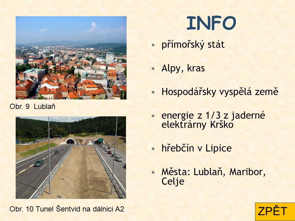 INFO ZPĚT přímořský stát Alpy, kras Hospodářsky vyspělá země