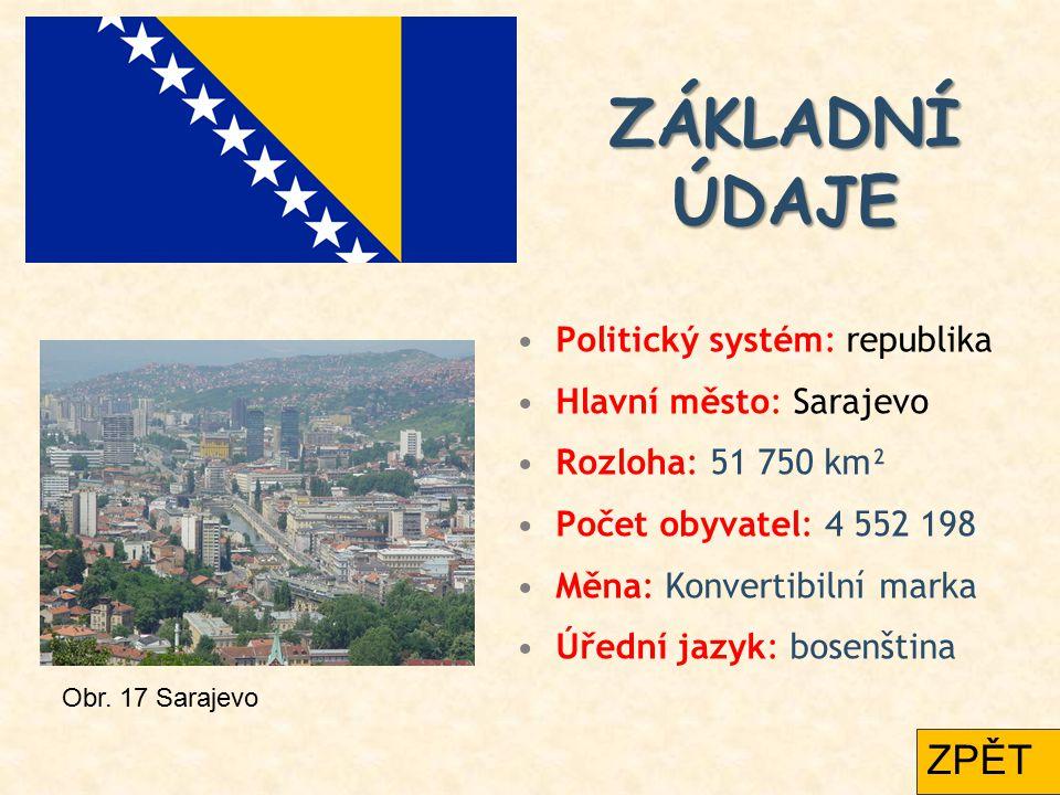 ZÁKLADNÍ ÚDAJE ZPĚT Politický systém: republika Hlavní město: Sarajevo