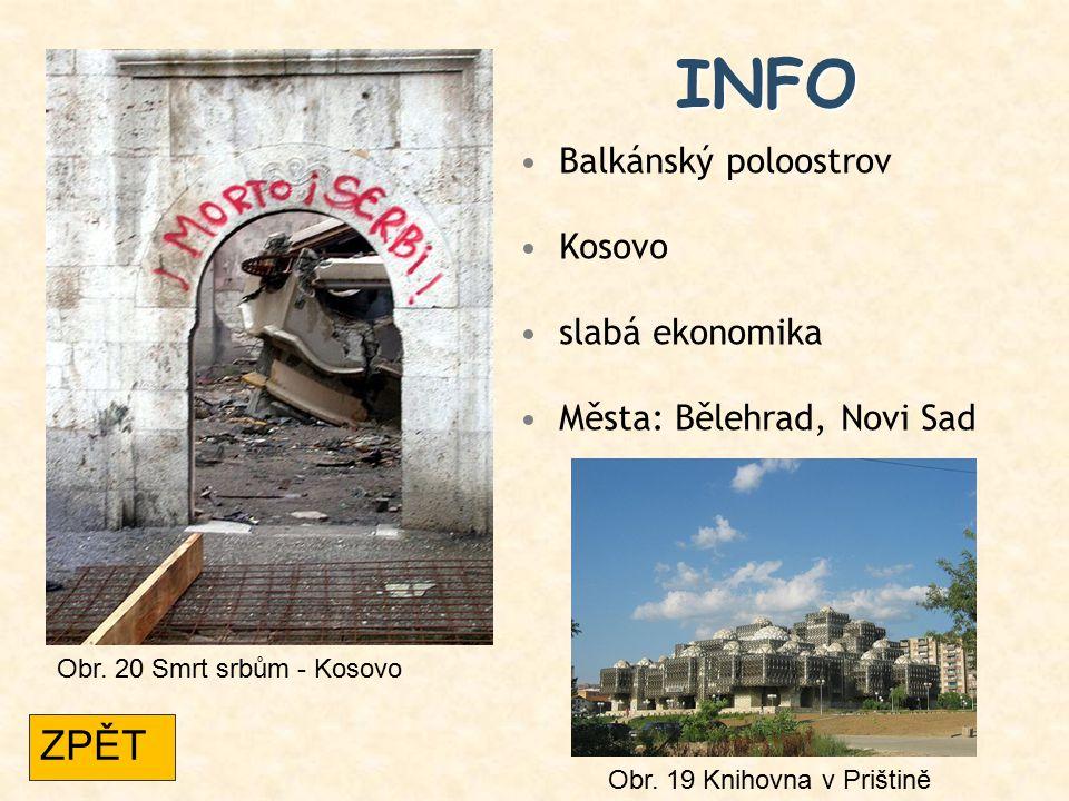 INFO ZPĚT Balkánský poloostrov Kosovo slabá ekonomika