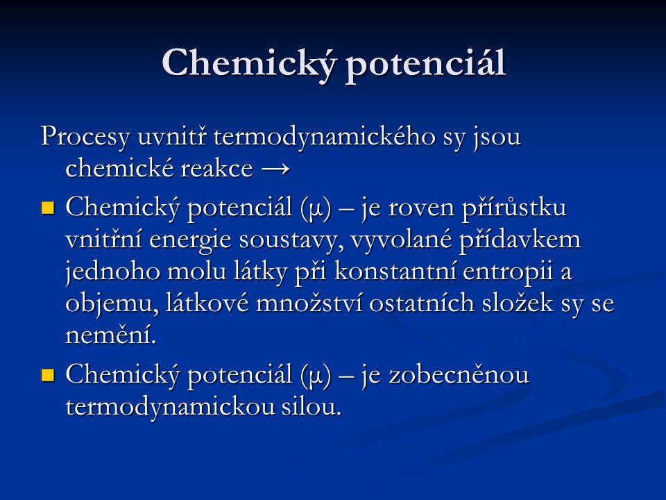 Chemický potenciál Procesy uvnitř termodynamického sy jsou chemické reakce →