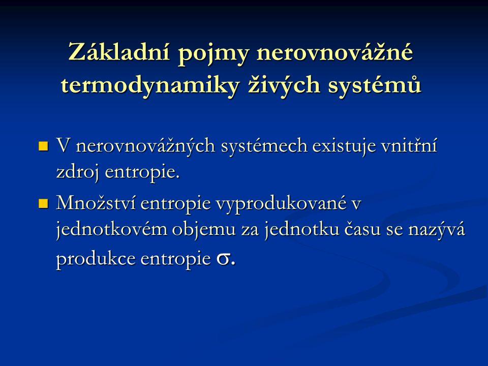 Základní pojmy nerovnovážné termodynamiky živých systémů