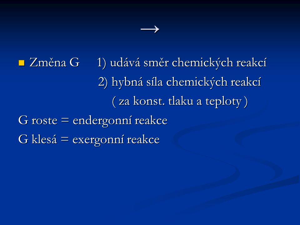 → Změna G 1) udává směr chemických reakcí