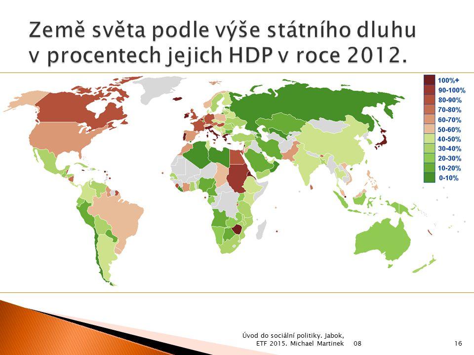 Země světa podle výše státního dluhu v procentech jejich HDP v roce 2012.