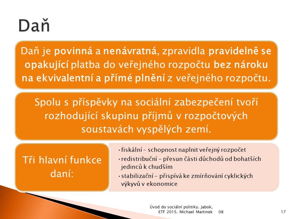 Tři hlavní funkce daní: