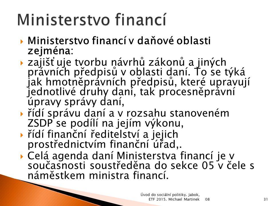 Ministerstvo financí Ministerstvo financí v daňové oblasti zejména:
