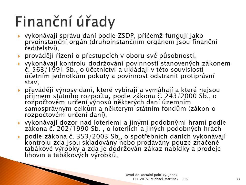 Finanční úřady vykonávají správu daní podle ZSDP, přičemž fungují jako prvoinstanční orgán (druhoinstančním orgánem jsou finanční ředitelství),