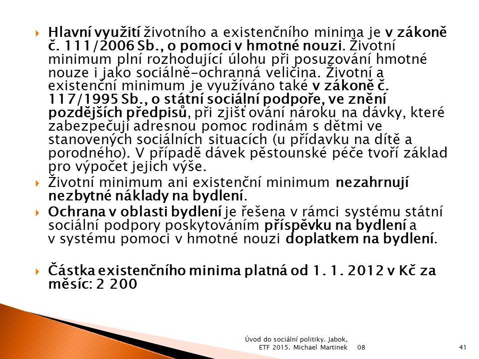 Částka existenčního minima platná od 1. 1. 2012 v Kč za měsíc: 2 200