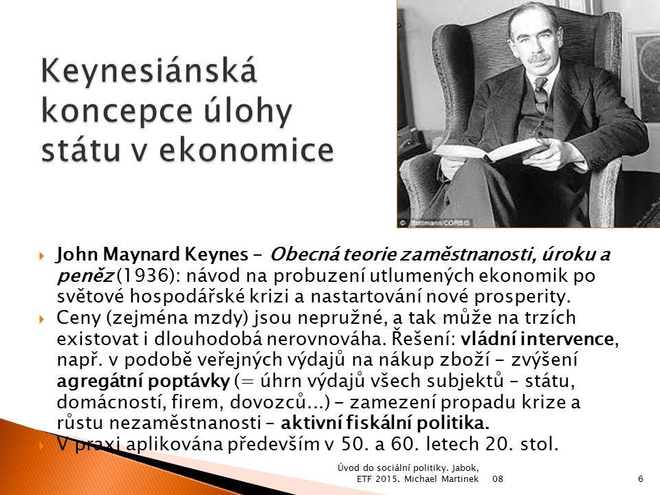 Keynesiánská koncepce úlohy státu v ekonomice