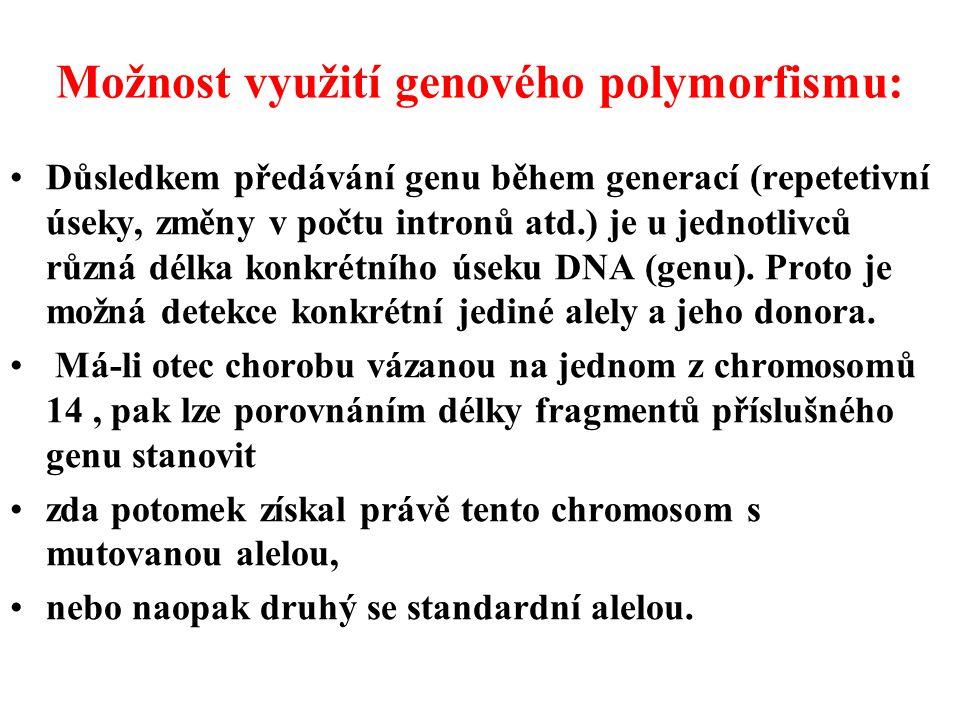 Možnost využití genového polymorfismu: