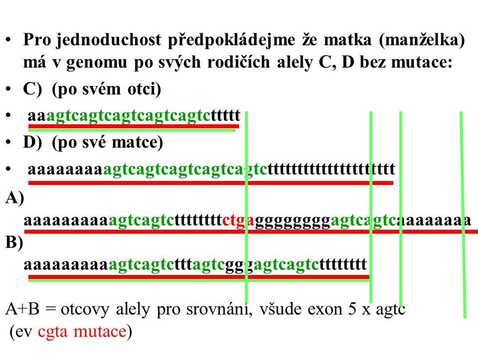 Pro jednoduchost předpokládejme že matka (manželka) má v genomu po svých rodičích alely C, D bez mutace:
