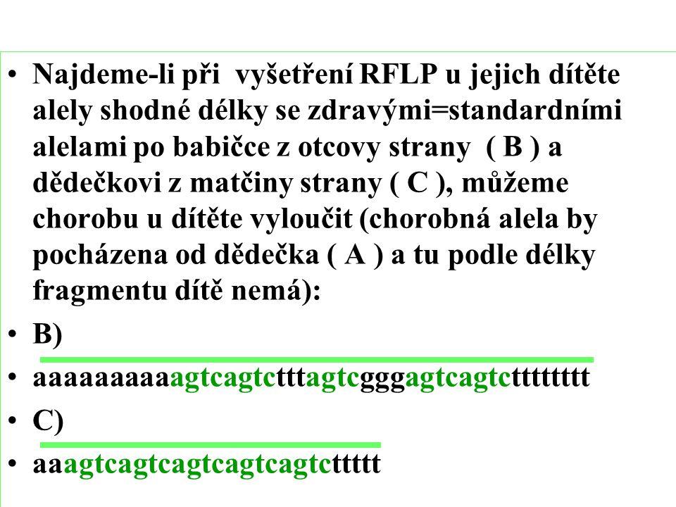 Najdeme-li při vyšetření RFLP u jejich dítěte alely shodné délky se zdravými=standardními alelami po babičce z otcovy strany ( B ) a dědečkovi z matčiny strany ( C ), můžeme chorobu u dítěte vyloučit (chorobná alela by pocházena od dědečka ( A ) a tu podle délky fragmentu dítě nemá):