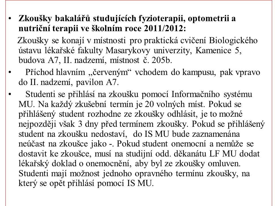Zkoušky bakalářů studujících fyzioterapii, optometrii a nutriční terapii ve školním roce 2011/2012:
