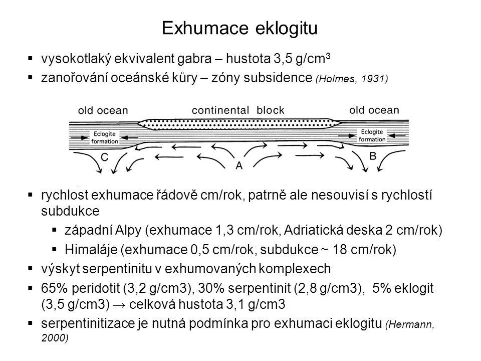Exhumace eklogitu vysokotlaký ekvivalent gabra – hustota 3,5 g/cm3