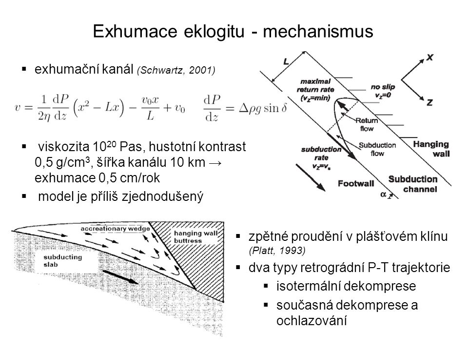 Exhumace eklogitu - mechanismus