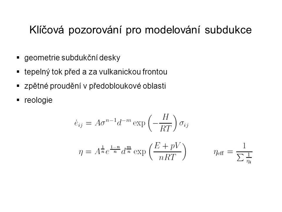 Klíčová pozorování pro modelování subdukce