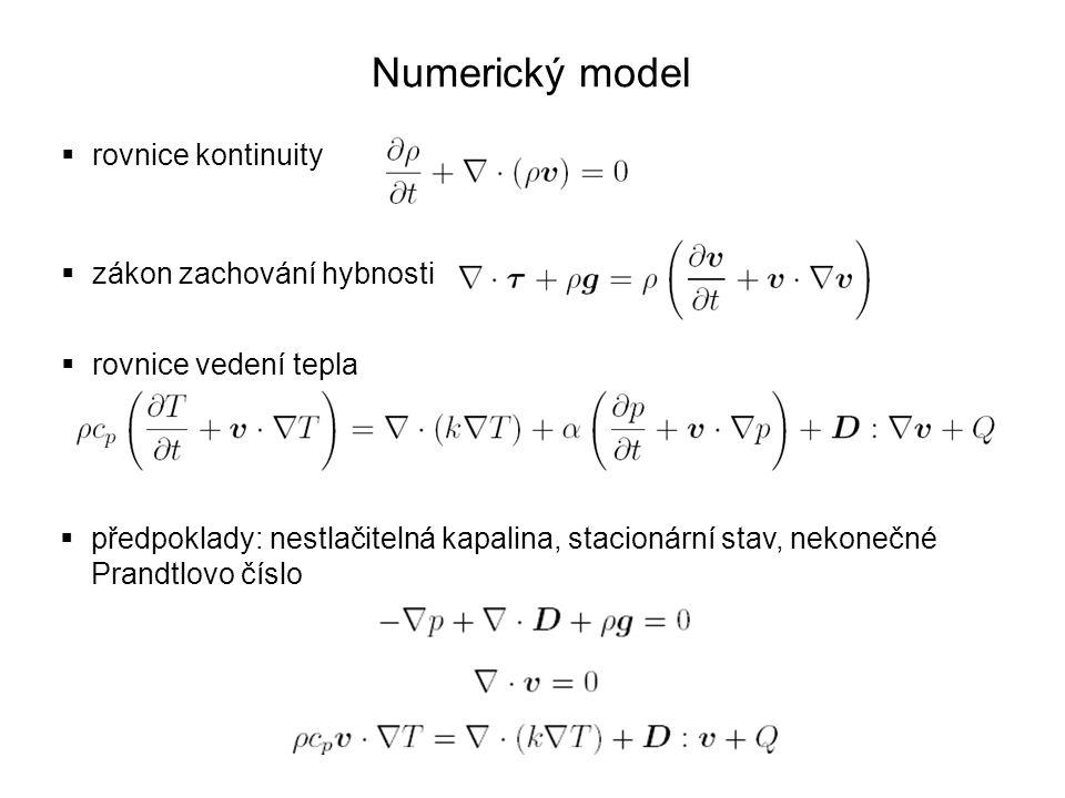 Numerický model rovnice kontinuity zákon zachování hybnosti