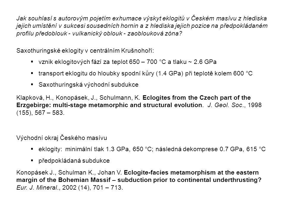 Jak souhlasí s autorovým pojetím exhumace výskyt eklogitů v Českém masívu z hlediska jejich umístění v sukcesi sousedních hornin a z hlediska jejich pozice na předpokládaném profilu předoblouk - vulkanický oblouk - zaoblouková zóna