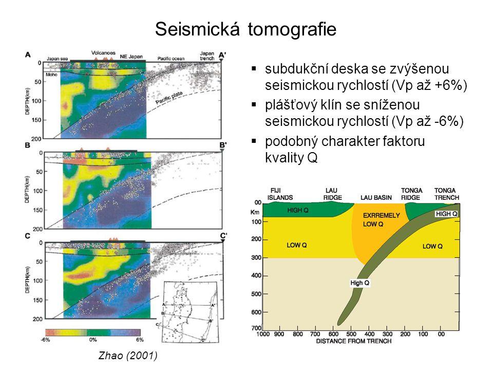 Seismická tomografie subdukční deska se zvýšenou seismickou rychlostí (Vp až +6%) plášťový klín se sníženou seismickou rychlostí (Vp až -6%)