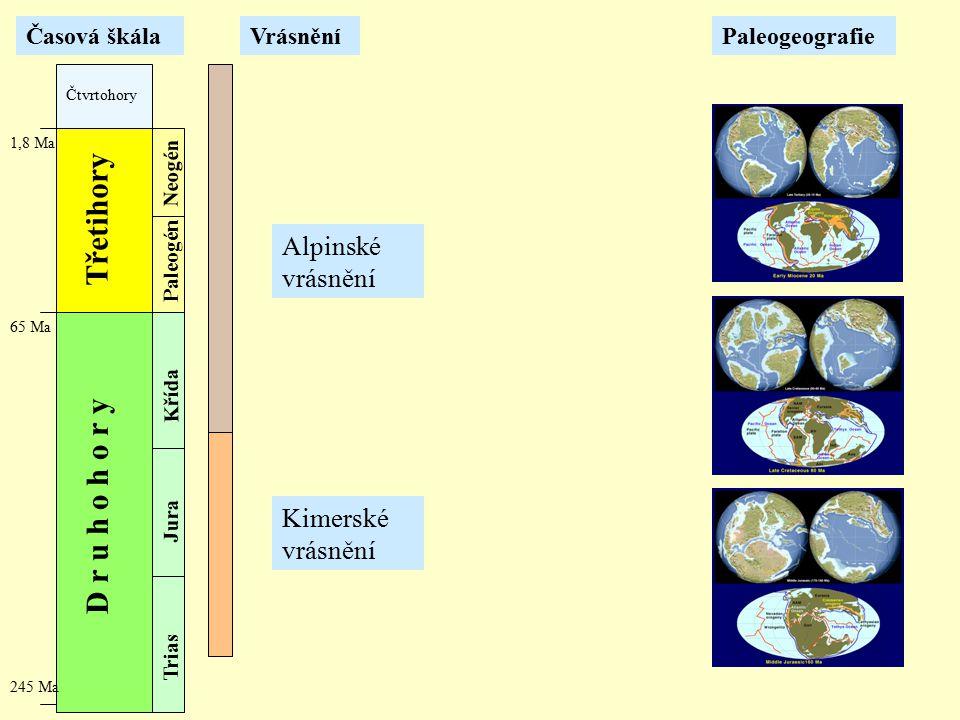 Třetihory D r u h o h o r y Alpinské vrásnění Kimerské vrásnění