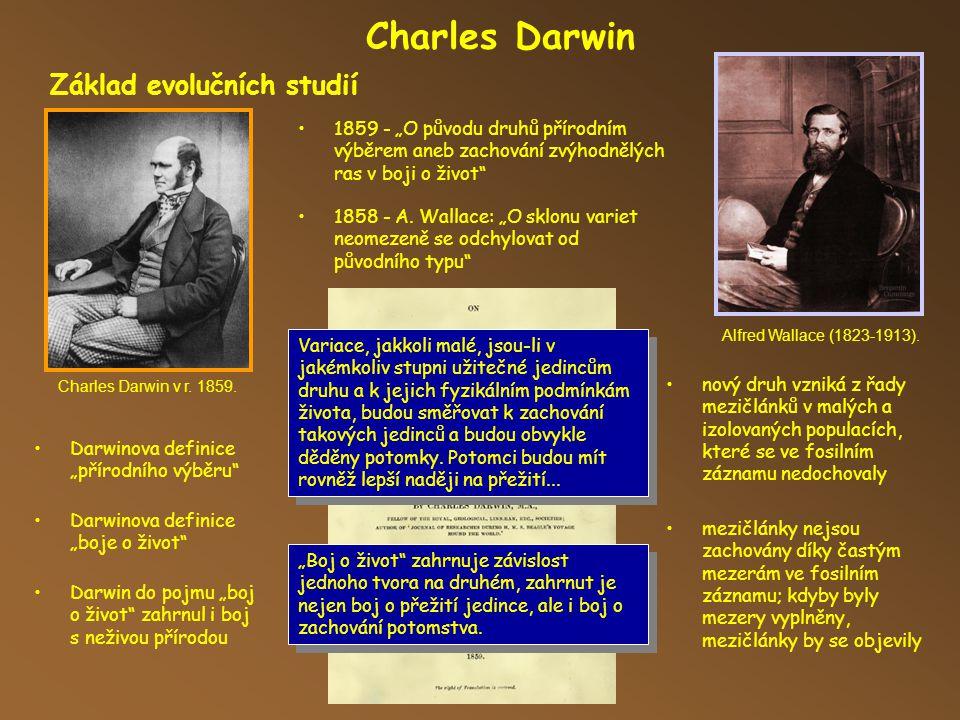 Charles Darwin Základ evolučních studií