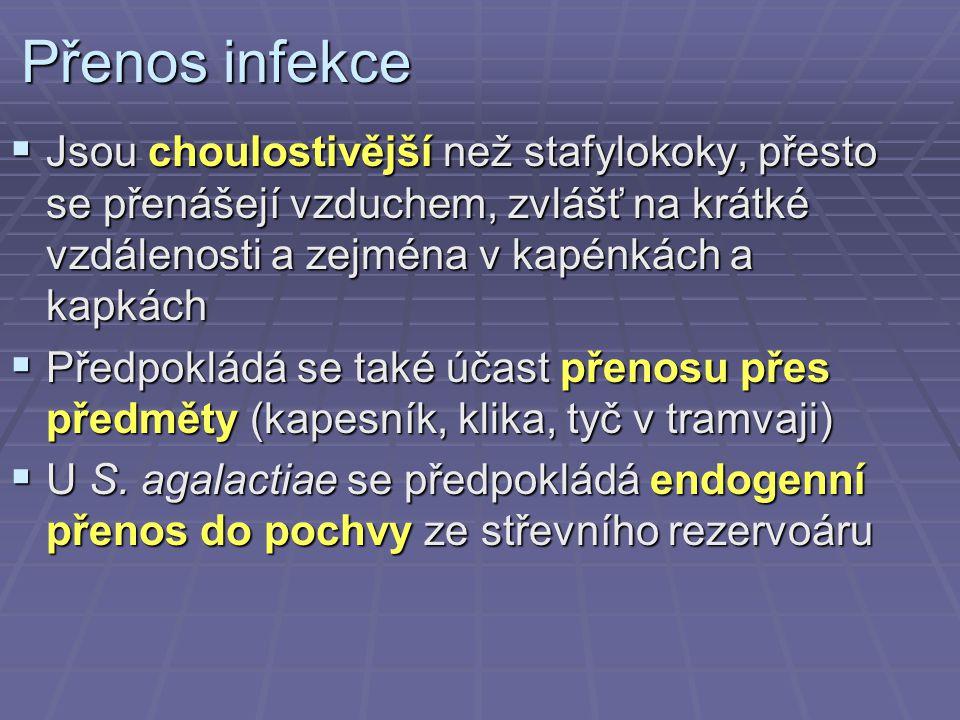Přenos infekce Jsou choulostivější než stafylokoky, přesto se přenášejí vzduchem, zvlášť na krátké vzdálenosti a zejména v kapénkách a kapkách.
