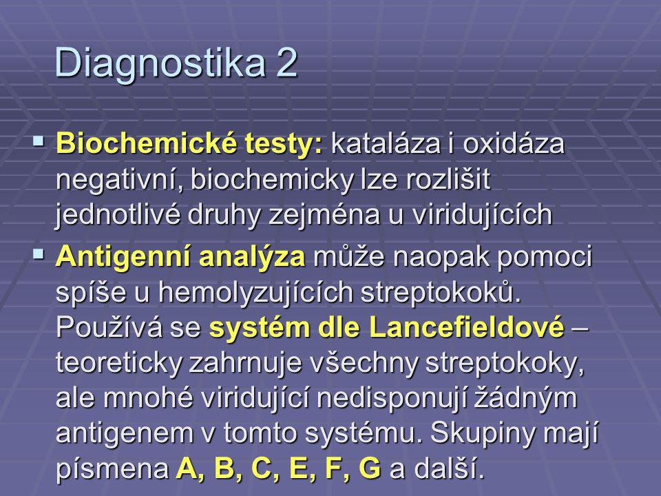 Diagnostika 2 Biochemické testy: kataláza i oxidáza negativní, biochemicky lze rozlišit jednotlivé druhy zejména u viridujících.