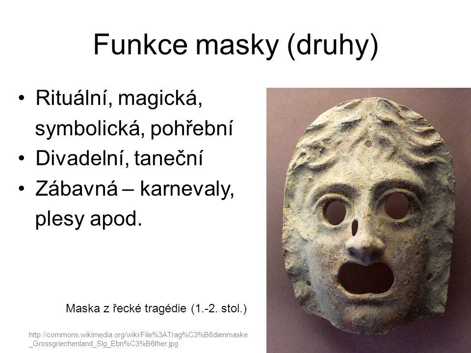 Funkce masky (druhy) Rituální, magická, symbolická, pohřební