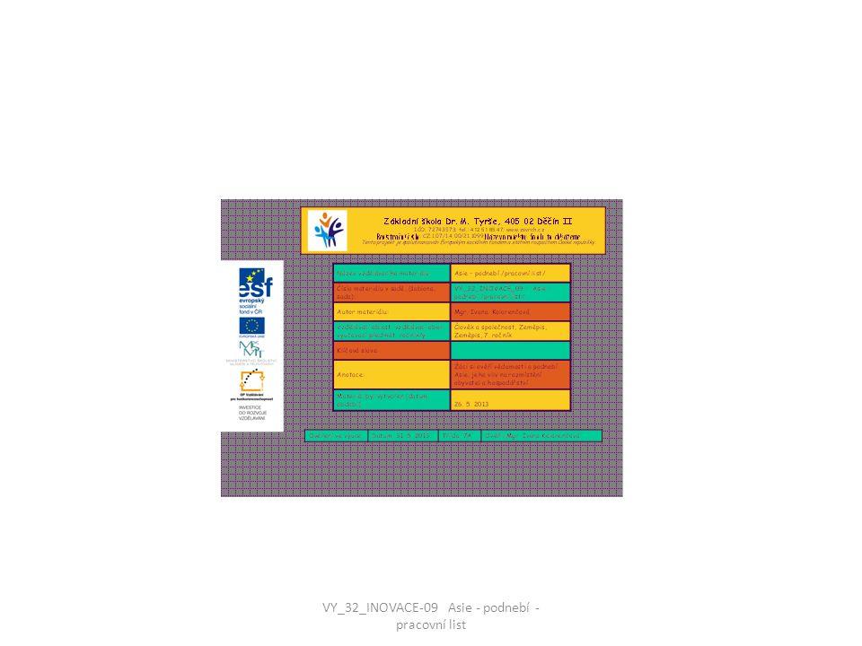 VY_32_INOVACE-09 Asie - podnebí - pracovní list