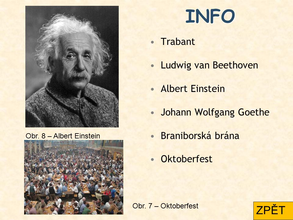 INFO ZPĚT Trabant Ludwig van Beethoven Albert Einstein