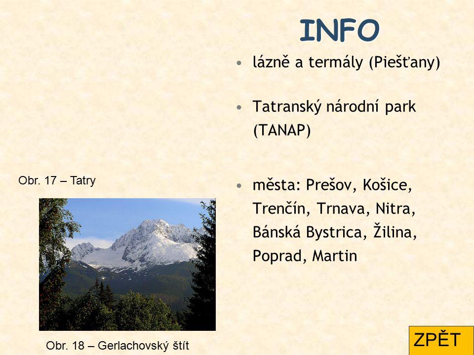INFO ZPĚT lázně a termály (Piešťany) Tatranský národní park (TANAP)