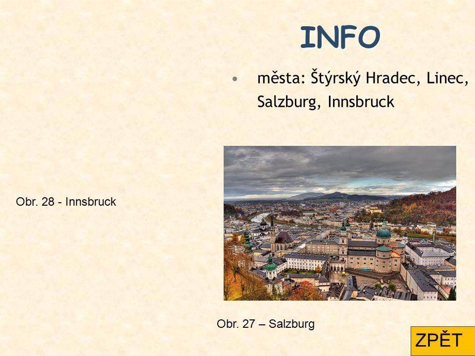 INFO ZPĚT města: Štýrský Hradec, Linec, Salzburg, Innsbruck