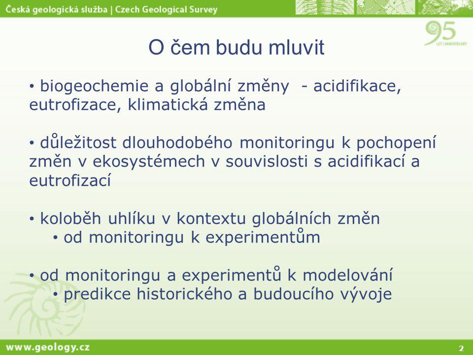 O čem budu mluvit biogeochemie a globální změny - acidifikace, eutrofizace, klimatická změna.