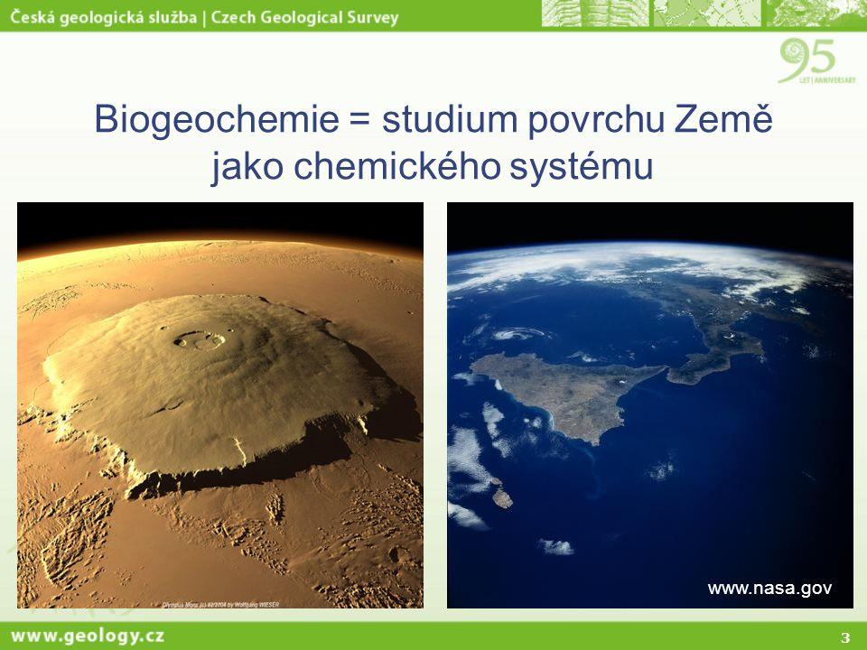 Biogeochemie = studium povrchu Země jako chemického systému