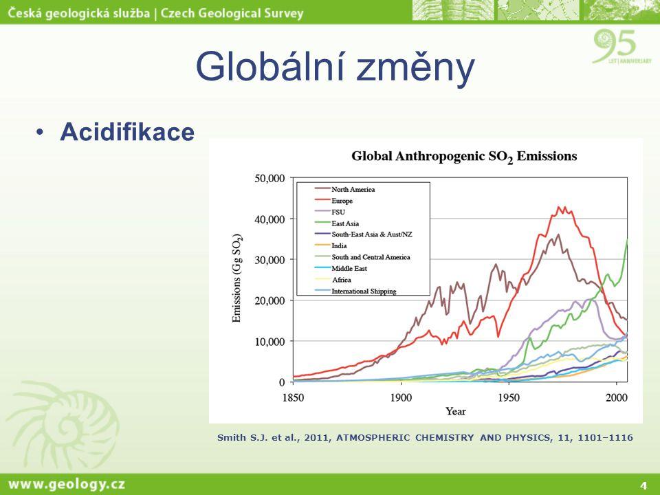 Globální změny Acidifikace Celková depozice S (mg m-2 rok-1)