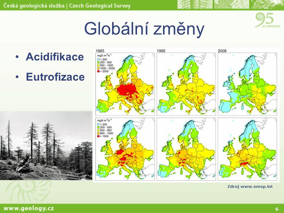 Globální změny Acidifikace Zdroj www.emep.int Eutrofizace