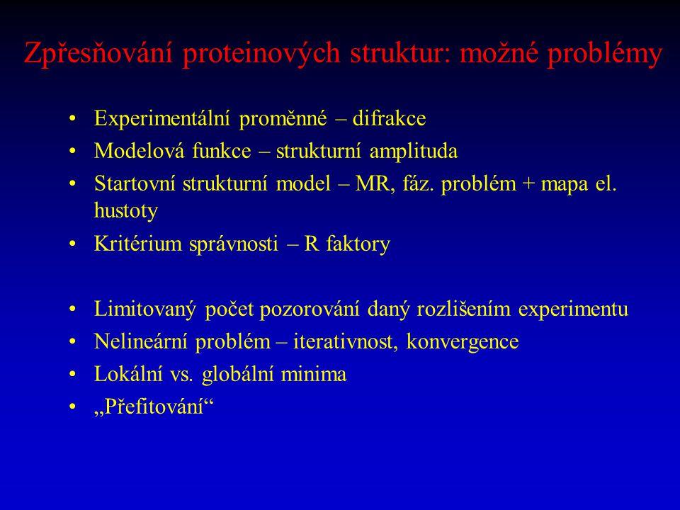 Zpřesňování proteinových struktur: možné problémy
