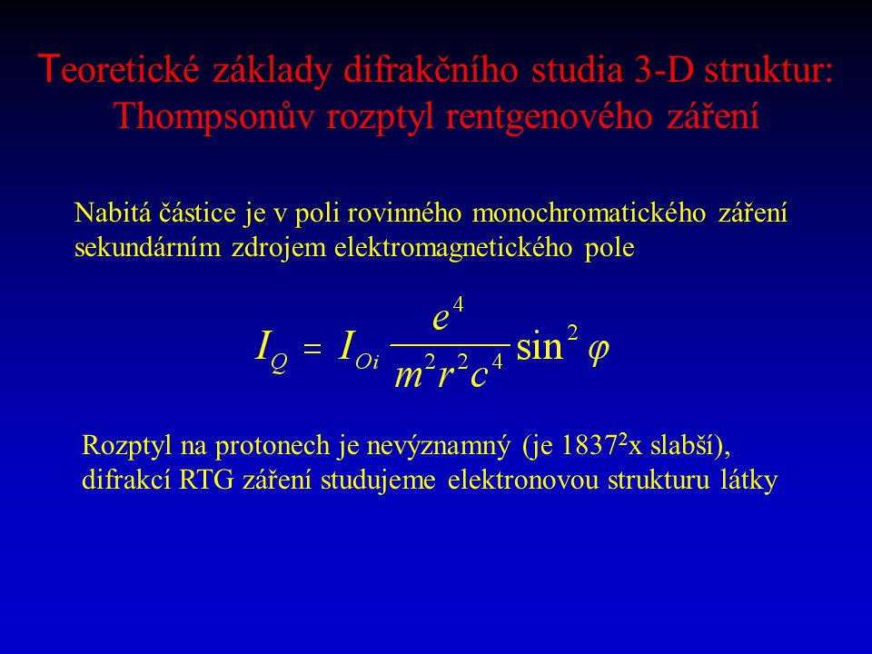 Teoretické základy difrakčního studia 3-D struktur: Thompsonův rozptyl rentgenového záření