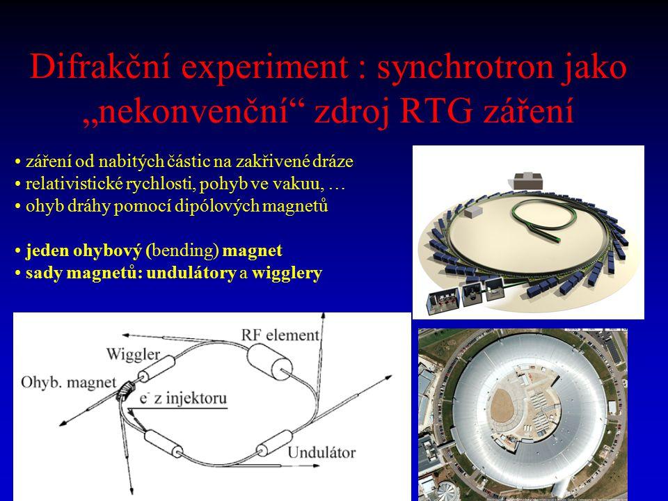 """Difrakční experiment : synchrotron jako """"nekonvenční zdroj RTG záření"""
