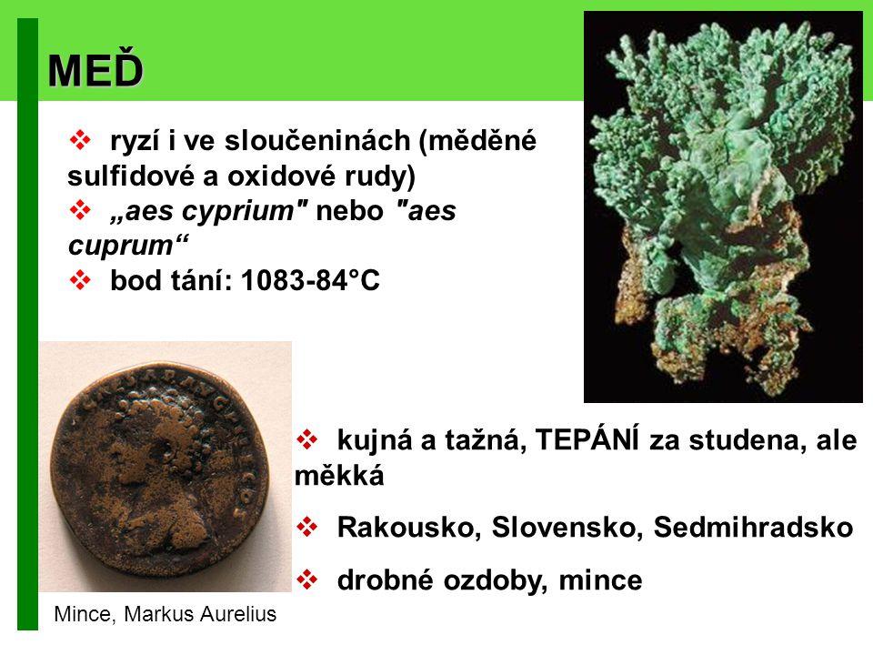 MEĎ ryzí i ve sloučeninách (měděné sulfidové a oxidové rudy)